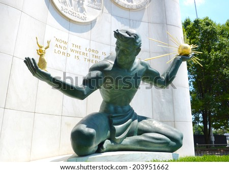 DETROIT, MI - JULY 6: The Spirit of Detroit monument in Detroit, MI, shown here on July 6, 2014, was featured in a 2011 Chrysler 200 Super Bowl commercial.  - stock photo