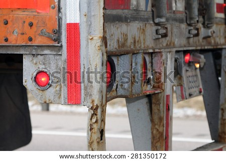 DETROIT, MI-MAY, 2015:  Example of rust damage on a semi trailer from winter road salt.   - stock photo