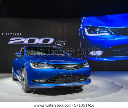 DETROIT, MI/USA - JANUARY 14: A Chrysler 200 S car at the North American International Auto Show (NAIAS) on January 14, 2014, in Detroit, Michigan. - stock photo