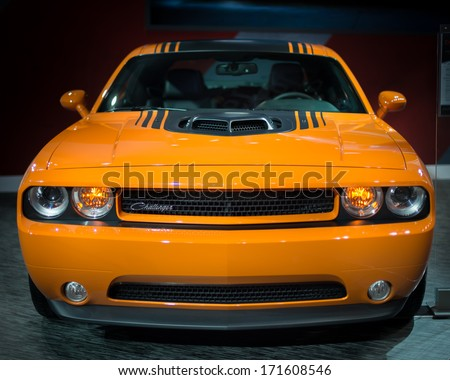DETROIT, MI/USA - JANUARY 15: A 2014 Dodge Challenger Hemi Shaker Limited Edition at the North American International Auto Show (NAIAS) on January 15, 2014, in Detroit, Michigan. - stock photo