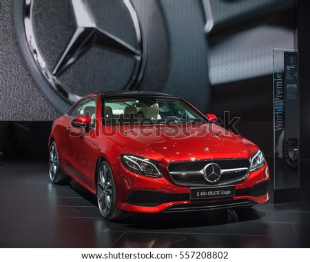 DETROIT, MI/USA - JANUARY 10, 2017: A 2017 Mercedes E400 car at the North American International Auto Show (NAIAS).