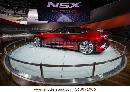 DETROIT, MI/USA - JANUARY 14, 2016: Acura Precision concept car at the North American International Auto Show (NAIAS), one of the most influential car shows in the world each year. - stock photo