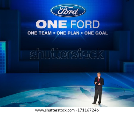 DETROIT, MI/USA - JANUARY 13: Alan Mulally, CEO of the Ford Motor Company presents at the North American International Auto Show (NAIAS) on January 13, 2014, in Detroit, Michigan. - stock photo