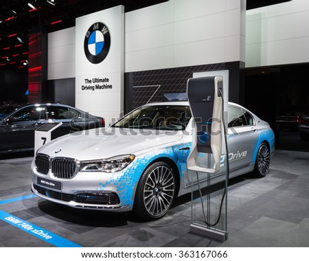 DETROIT, MI/USA - JANUARY 12, 2016: BMW 740e xDrive car at the North American International Auto Show (NAIAS), one of the most influential car shows in the world each year. - stock photo