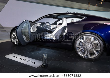 DETROIT, MI/USA - JANUARY 12, 2016: Buick Avista concept car interior at the North American International Auto Show (NAIAS), one of the most influential car shows in the world each year.