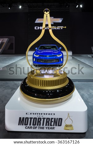 DETROIT, MI/USA - JANUARY 12, 2016: Chevrolet Camaro RS car at the North American International Auto Show (NAIAS), one of the most influential car shows in the world each year. - stock photo