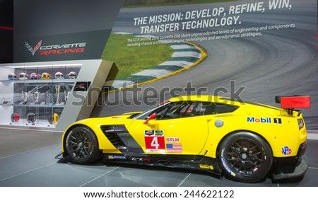 DETROIT, MI/USA - JANUARY 13, 2015:  Chevrolet Corvette C7.R #4 race car at the North American International Auto Show (NAIAS), one of the most influential car shows in the world each year. - stock photo