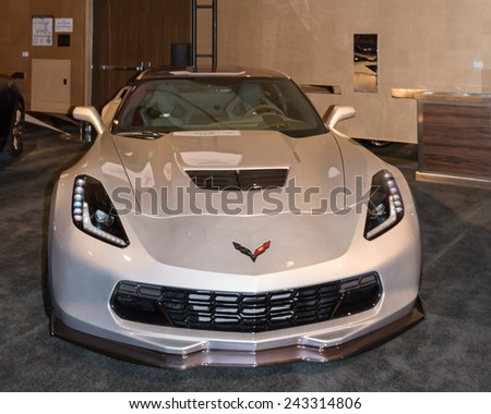 DETROIT, MI/USA - JANUARY 11, 2015: Chevrolet Corvette Z06  at The Gallery, an event sponsored by the North American International Auto Show (NAIAS) and the MGM Grand Detroit. - stock photo