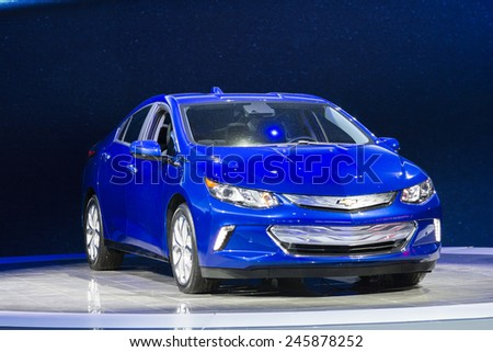 DETROIT, MI, USA - JANUARY 13, 2015: Chevrolet Volt hybrid on display during the 2015 Detroit International Auto Show at the COBO Center in downtown Detroit. - stock photo