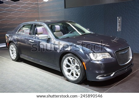 DETROIT, MI, USA - JANUARY 12, 2015: Chrysler 300 sedan on display during the 2015 Detroit International Auto Show at the COBO Center in downtown Detroit.