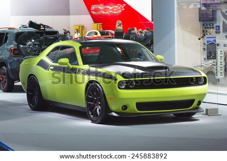 DETROIT, MI, USA - JANUARY 13, 2015: Dodge Challenger TA on display during the 2015 Detroit International Auto Show at the COBO Center in downtown Detroit. - stock photo