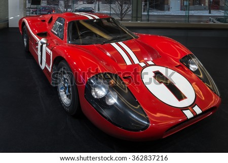 DETROIT, MI/USA - JANUARY 11, 2016: 1967 Ford GT40 MkIV car at the North American International Auto Show (NAIAS), one of the most influential car shows in the world each year. - stock photo
