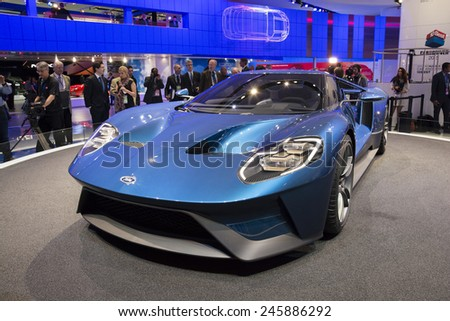 DETROIT, MI, USA - JANUARY 12, 2015: Ford GT on display during the 2015 Detroit International Auto Show at the COBO Center in downtown Detroit. - stock photo