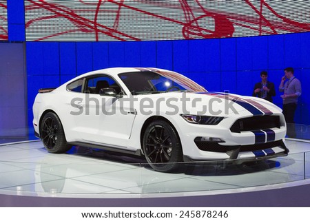DETROIT, MI, USA - JANUARY 12, 2015: Ford Shelby GT 350 on display during the 2015 Detroit International Auto Show at the COBO Center in downtown Detroit. - stock photo