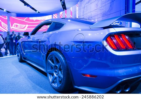 DETROIT, MI, USA - JANUARY 12, 2015: Ford Shelby GT 350 R on display during the 2015 Detroit International Auto Show at the COBO Center in downtown Detroit. - stock photo