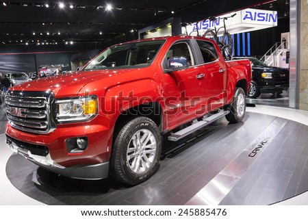 DETROIT, MI, USA - JANUARY 12, 2015: GMC Canyon on display during the 2015 Detroit International Auto Show at the COBO Center in downtown Detroit.
