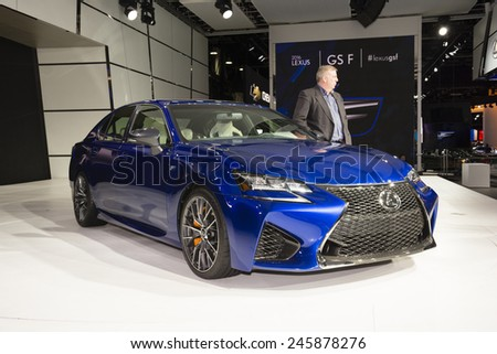 DETROIT, MI, USA - JANUARY 13, 2015: Lexus GS F on display during the 2015 Detroit International Auto Show at the COBO Center in downtown Detroit. - stock photo