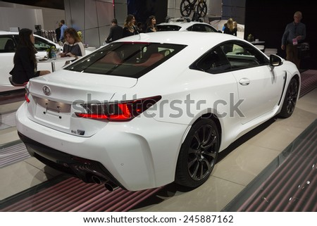 DETROIT, MI, USA - JANUARY 12, 2015: Lexus RC 350 F on display during the 2015 Detroit International Auto Show at the COBO Center in downtown Detroit. - stock photo