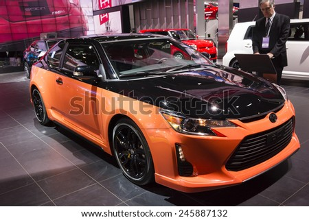 DETROIT, MI, USA - JANUARY 12, 2015: Scion tC Release Series 9.0 on display during the 2015 Detroit International Auto Show at the COBO Center in downtown Detroit.