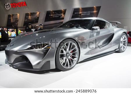 DETROIT, MI, USA - JANUARY 12, 2015: Toyota FT-1 on display during the 2015 Detroit International Auto Show at the COBO Center in downtown Detroit.