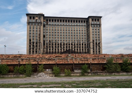 Detroit, MI, USA Sept 18, 2015.  Michigan Central Station with renovation underway. - stock photo