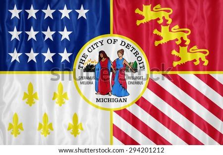 Detroit ,Michigan flag pattern on fabric texture,retro vintage style - stock photo
