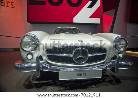 DETROIT, MICHIGAN - JANUARY 18: A new 300 SL Mercedes Benz is on display at the 2011 North American International Auto Show on January 18, 2011 in Detroit, Michigan.