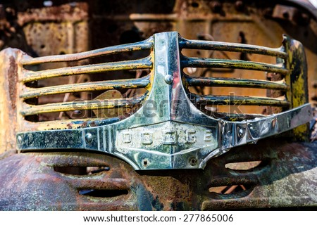 DETROIT, MICHIGAN - May 11, 2015: The grill from the front of a Dodge truck. Founded as the Dodge Brothers Company by brothers Horace Elgin Dodge and John Francis Dodge in 1900. - stock photo