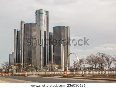 DETROIT, MICHIGAN - NOV 28 2014: The GM Renaissance Center buildings in downtown Detroit, Michigan on a cold Autumn day. - stock photo
