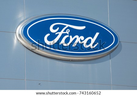 Detroit October 17 2017Ford Dealership Sign On Woodward Near