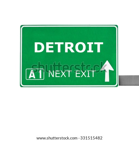 DETROIT road sign isolated on white - stock photo