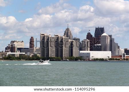 Detroit skyline - stock photo