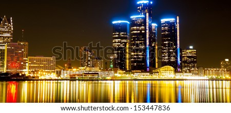 Detroit Skyline at Night - stock photo