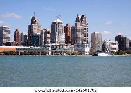 Detroit skyline from Windsor - stock photo