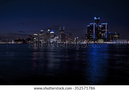 Detroit Skyline Night Shot From Canada - stock photo