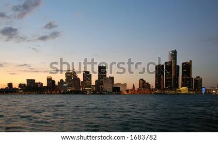 Detroit skyline twilight - stock photo