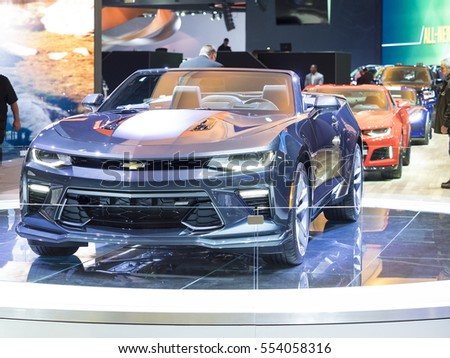 DETROIT, US - JANUARY 9,2017: Chevrolet Camaro Fifty year model on display during the North American International Auto Show at the Cobo Center in downtown Detroit.