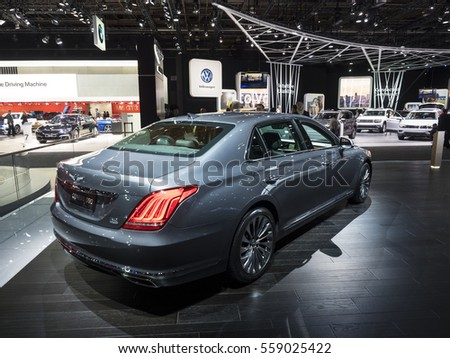 DETROIT, US - JANUARY 9,2017: Genesis G90 on display during the North American International Auto Show at the Cobo Center in downtown Detroit.