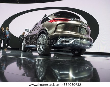 DETROIT, US - JANUARY 9,2017: Infinity QX50 on display during the North American International Auto Show at the Cobo Center in downtown Detroit.
