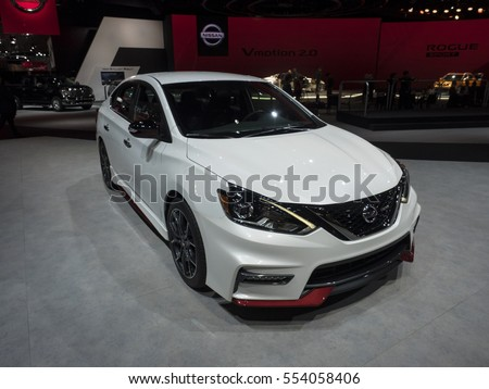 DETROIT, US - JANUARY 9,2017: Nissan Sentra NISMO on display during the North American International Auto Show at the Cobo Center in downtown Detroit.