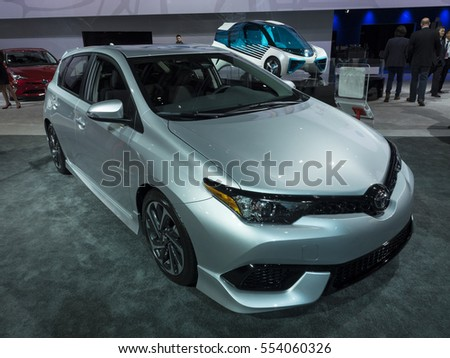 DETROIT, US - JANUARY 9,2017: Toyota Corolla iM on display during the North American International Auto Show at the Cobo Center in downtown Detroit.