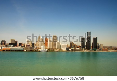 Detroit waterfront and downtown - stock photo