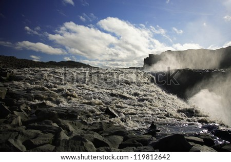 Dettifoss riverbed and waterfall Iceland - stock photo