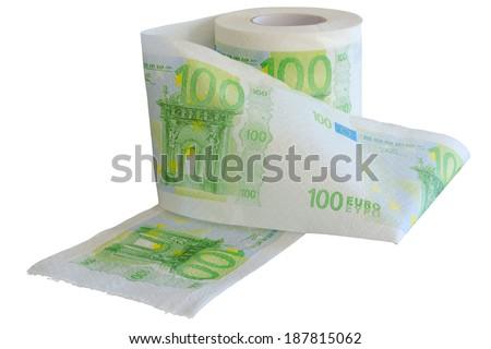 Devaluation - money depreciation. European banknotes looking like toilet paper roll. - stock photo