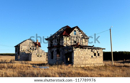 devastated house - stock photo
