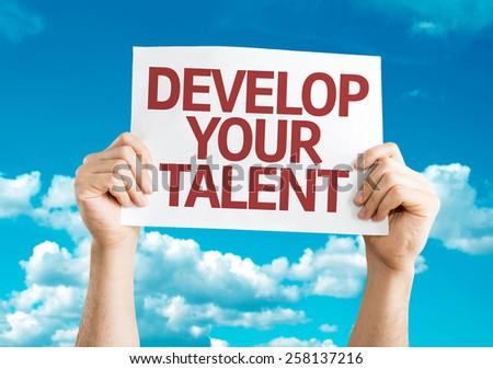 Develop Your Talent card with sky background - stock photo