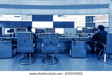 developed technology inside the railway control room - stock photo