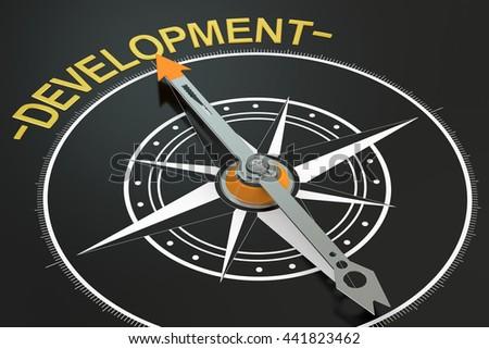 Development compass concept, 3D rendering - stock photo