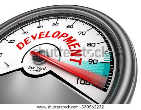 Development level conceptual meter indicate hundred per cent, isolated on white background - stock photo