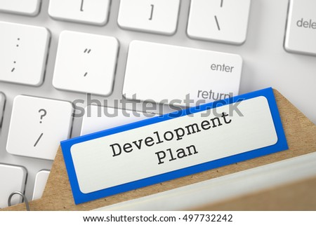 Development Plan Concept. Word on Blue Folder Register of Card Index. Closeup View. Selective Focus. 3D Rendering.